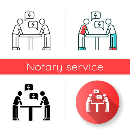 Negotiation icon. Dialogue between parties. Argument. Opposing interests. Conflict. Dispute, discussion. Lawsuit. Rivals, adversaries. Linear black and RGB color styles. Isolated vector illustrations Иллюстрация