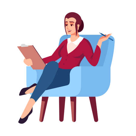 Businesswoman in armchair semi flat RGB color vector illustration. Female executive. Woman with clipboard. Remote job. Psychology consultation. Isolated cartoon character on white background