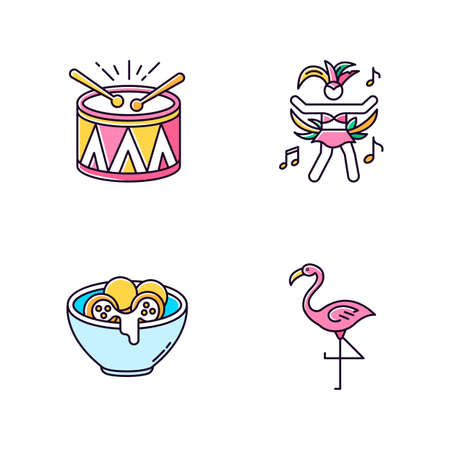 Brazilian carnival pink RGB color icons set. Traditional music. Arancini. Festive drum parade. National festival. Flamingo. Cheese bread. Samba. Local cuisine. Isolated vector illustrations