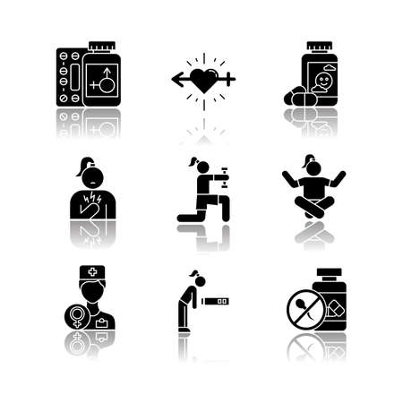 Predmenstrual syndrome drop shadow black glyph icons set. Gynecology. Libido racing. Antidepressant. Fatigue. Birth control. Chest pain. Exercise and meditation. Isolated vector illustrations