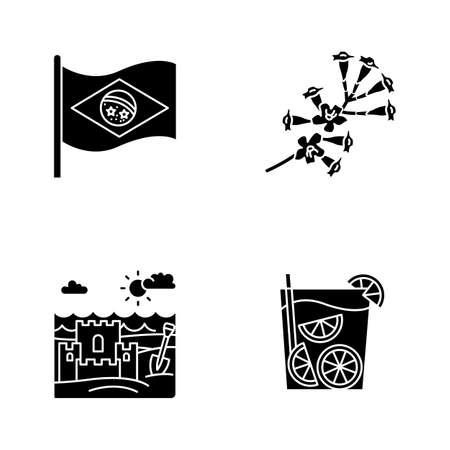 Brazil black glyph icons set on white space. National flag. Plumeria. Caipirinha. Sand castle on coast. Ip� tree. Traditional cocktail. Ocean beach. Silhouette symbols. Vector isolated illustration