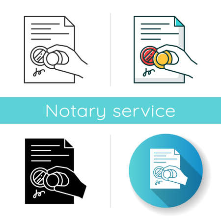 Hand with stamp icon. Certificate. Notarized document. Apostille and legalization. License. Contract. Legal agreement. Notary services. Linear black and RGB color styles. Isolated vector illustrations