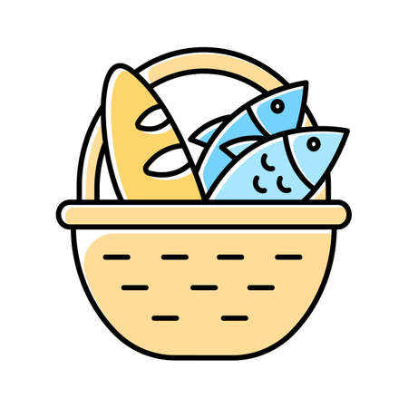 Bread and fish in basket yellow color icon. Feeding the multitude. Holy week. Miracle of Christ. Blessing food from Bible. New Testament. Bible narrative. Gospel story. Isolated vector illustration Ilustrace