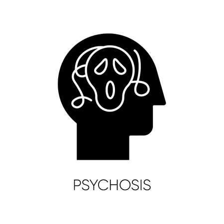 Psychosis glyph icon. Paranoid and scared person. Confused mind. Phobia. Schizophrenia. Depression and stress. Mental disorder. Silhouette symbol. Negative space. Vector isolated illustration