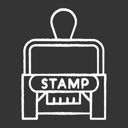 Stamp chalk white icon on black background. Apostille and legalization. Legal paper. Notarization. Authentification. Validation, confirmation. Notary services. Isolated vector chalkboard illustration