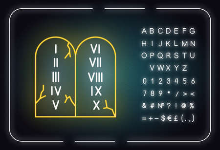 Ten Commandments Bible story neon light icon. Biblical laws written on stone tablets. Religious legend. Glowing sign with alphabet, numbers and symbols. Vector isolated illustration Ilustrace