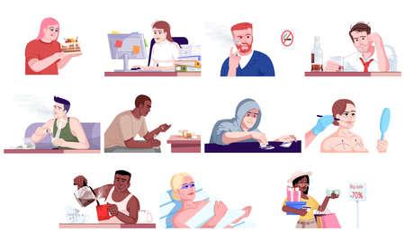 Sucht flache Vektorgrafiken eingestellt. Völlerei, Workaholismus, Alkoholismus, Narkomanie, Schönheitschirurgie und Bräunungssucht, Shopaholismus. Süchtige Menschen isolierte Zeichentrickfiguren