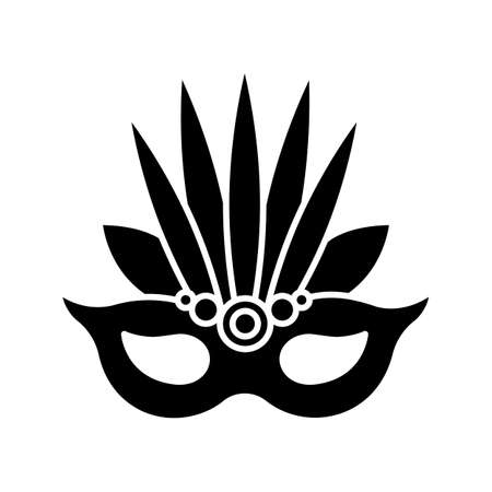 Masquerade mask black glyph icon. Traditional headwear with leaves. Ethnic festival. National holiday parade. Silhouette symbol on white space. Vector isolated illustration