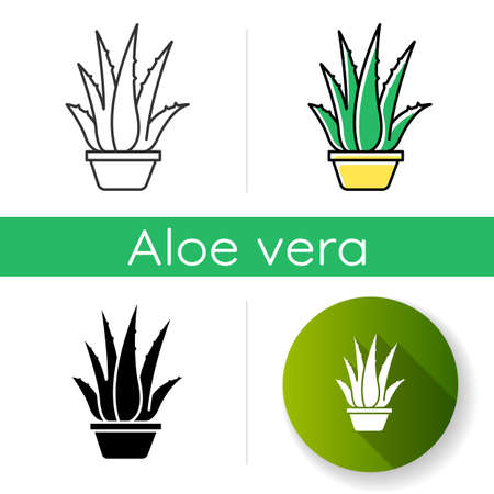 Houseplant icon. Potted aloe vera. Cactus and succulent leaves. Growing medicinal herb. Decorative plant. Cultivation, vegetation. Linear black and RGB color styles. Isolated vector illustrations Illusztráció