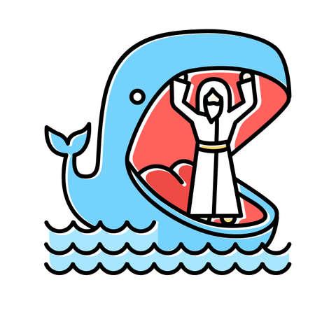 Jonah und Wal blaues Farbsymbol. Geschichte des Alten Testaments. Jonas wundersame Rückkehr aus den Kiefern riesiger Fische. Reue und Vergebung. Biblische Erzählung. Isolierte Vektorillustration Vektorgrafik