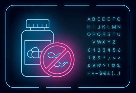 Birth control neon light icon. Female oral contraceptive. Unwanted pregnancy prevention. Predmenstrual syndrome aid. Glowing sign with alphabet, numbers and symbols. Vector isolated illustration Çizim