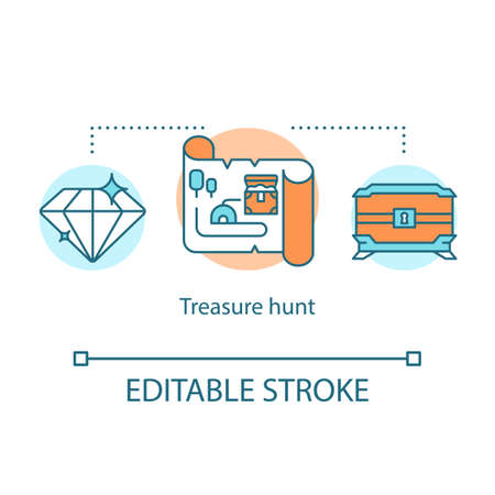 Treasure hunt concept icon. Search for jewel chest with map. Historical research ancient antiques. Children quest idea thin line illustration. Vector isolated outline drawing. Editable stroke