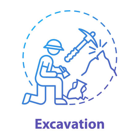 Excavation concept icon. Archaeological expedition. Historical research. Search for ancient artifacts. Cultural layer. Vector isolated outline RGB color drawing