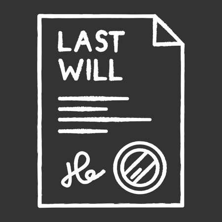 Signed last will chalk white icon on black background. Document with stamp. Notarized testament. Apostille and legalization. Legal paper. Notary services. Isolated vector chalkboard illustration