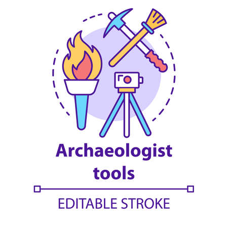 Archaeologist tools concept icon. Archelogy research. Treasure hunter equipment. Torch, pickaxe, brush, level tripod idea thin line illustration. Vector isolated outline drawing. Editable stroke