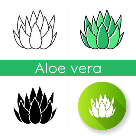 Cactus sprouts icon. Aloe vera leaves. Growing medicinal herb. Decorative plant. Botanical ingredient. Dermatology and cosmetology. Linear black and RGB color styles. Isolated vector illustrations