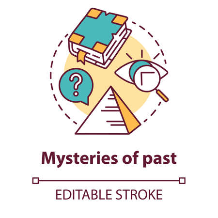Mysteries of past concept icon. Historical researching. Study of ancient monuments, documents. Archeological researching idea thin line illustration. Vector isolated outline drawing. Editable stroke Çizim