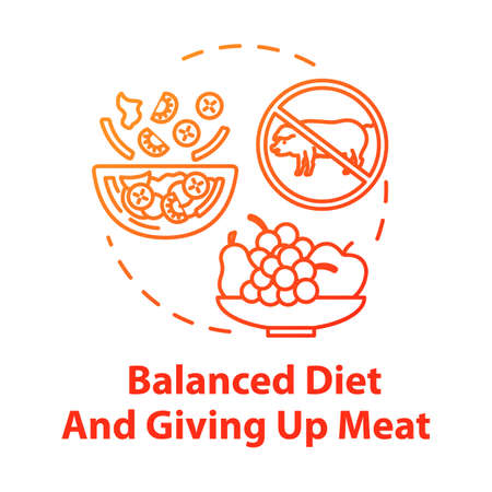 Balanced diet and giving up meat concept icon. No animal food. Nutritious diet. Healthcare. Organic meal. Going vegan idea thin line illustration. Vector isolated outline RGB color drawing