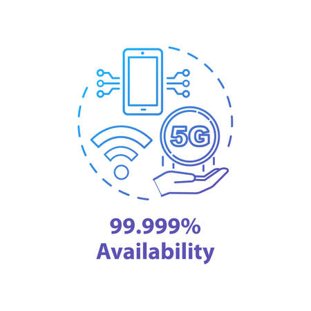 99.999 percent availability concept icon. Mobile internet. 5G technologies idea thin line illustration. High-speed connection. Vector isolated outline drawing. Editable stroke Иллюстрация
