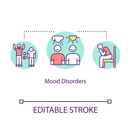Mood disorders concept icon. Mental illness idea thin line illustration. Psychological problems. Seasonal affective disorder. Depression. Vector isolated outline RGB color drawing. Editable stroke 일러스트