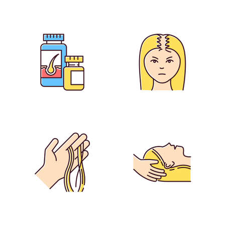 Hair loss RGB color icons set. Female baldness. Alopecia treatment. Woman with thinning hair. Strands of hair on hand. Physiotherapy, vitamin supplements. Isolated vector illustrations