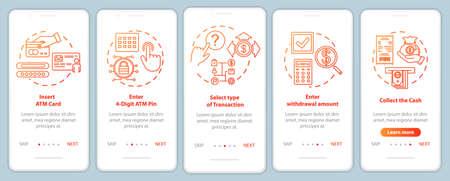 ATM-Anweisung beim Onboarding der mobilen App-Seitenbildschirmvektorvorlage. Walkthrough-Website-Schritte mit linearen Illustrationen. Wählen Sie die Art der Transaktion aus. UX, UI, GUI Smartphone-Schnittstellenkonzept