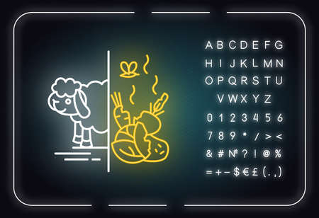 Cain and Abel Bible story neon light icon. Offering for God. Flock and crop sacrifices. Biblical narrative. Glowing sign with alphabet, numbers and symbols. Vector isolated illustration