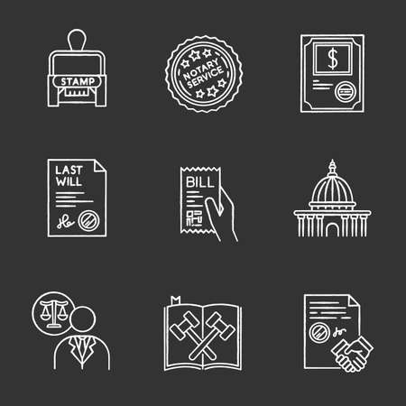 Notary services chalk white icons set on black background. Apostille and document legalization. Stock certificate. Supreme court. Legal code. Will. Lawyer. Isolated vector chalkboard illustrations