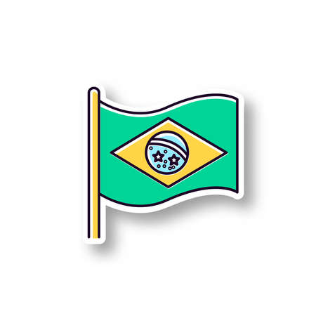 Flag of brazil patch. RGB color printable sticker. State symbol. Constellation over Rio de Janeiro. South american country independence. Vector isolated illustration Illusztráció