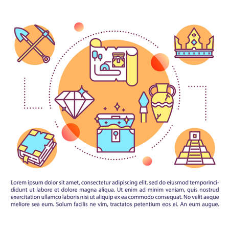 Historical treasures concept icon with text. Archeological expedition. Civilization history. Article page vector template. Brochure, magazine, booklet design element with linear illustrations