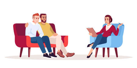 Psychotherapy session semi flat RGB color vector illustration. Appointment with psychologist. Same-sex marriage counseling. Talk therapy. Psychology consultation. Isolated cartoon character on white