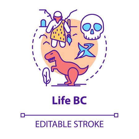 Life BC concept icon. Paleontological research. Studying development of life on planet. Evolution theory idea thin line illustration. Vector isolated outline drawing. Editable stroke