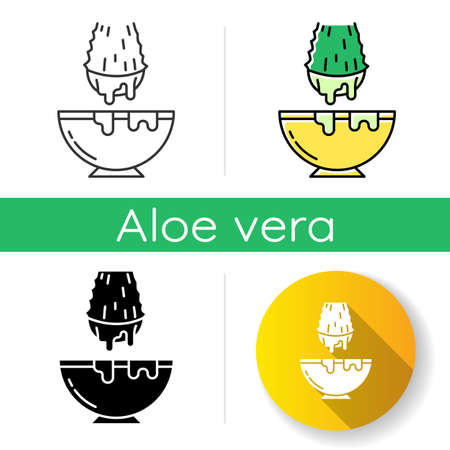 Cut aloe vera sprout icon. Medicinal herb extract in bowl. Organic plant liquid dropping in jar. Cosmetic product production. Linear black and RGB color styles. Isolated vector illustrations