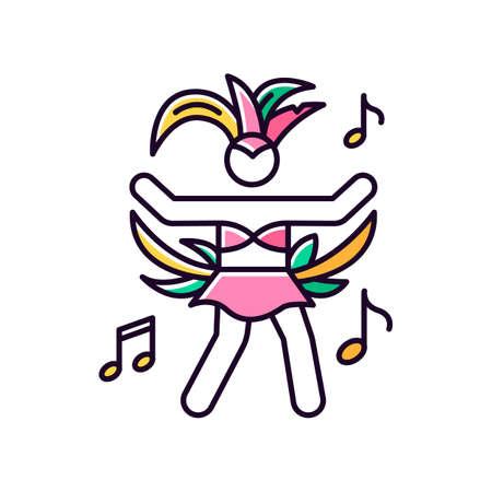 Dancing lady orange RGB color icon. Samba. Womens carnival costume. Brazilian carnival. Traditional music. Ethnic festival. National holiday. Masquerade parade. Isolated vector illustration Ilustracja