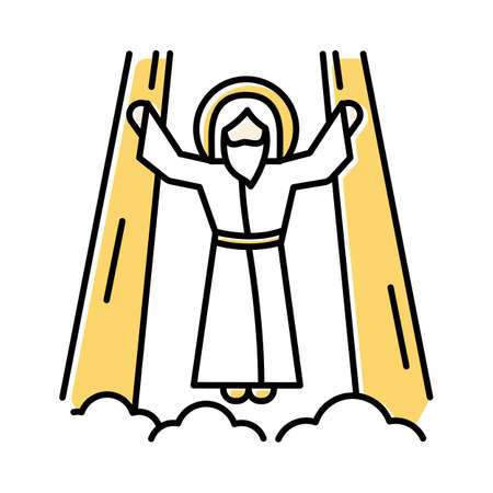 Ascension of Jesus Christ color icon. Messiah, the son of god raising on cloud in divine light. Savior in heaven in glory. Bible easter story. New Testament. Isolated vector illustration Ilustrace
