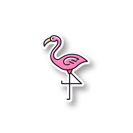 Flamingo patch. RGB color printable sticker. Exotic wild bird. Tropical creature. Wildlife. South american habitat. Vector isolated illustration