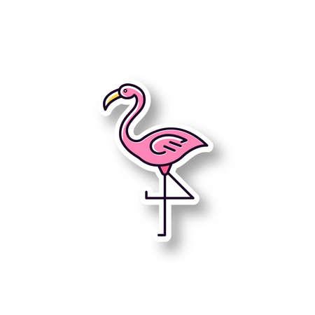 Flamingo patch. RGB color printable sticker. Exotic wild bird. Tropical creature. Wildlife. South american habitat. Vector isolated illustration