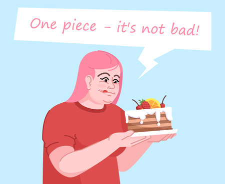 Food addiction flat color vector illustration. One piece its not bad. Psychological dependence on sweets. Overweight woman in anticipation of eating cake isolated cartoon character on blue background