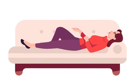Woman lying on couch semi flat RGB color vector illustration. Girl resting on sofa and talking. Therapy patient sharing feelings. Psychology consultation. Isolated cartoon character on white