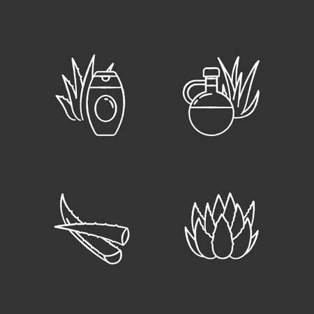 Aloe vera chalk white icons set on black background. Botanical sprouts. Medicinal herb. Cactus and succulent leaf. Cosmetic cream. Natural lotion. Isolated vector chalkboard illustrations