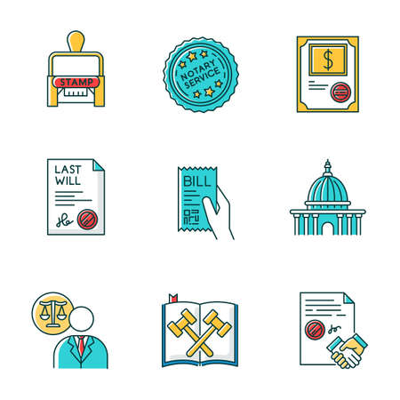 Notary services RGB color icons set. Apostille and document legalization. Stock certificate. Bill. Supreme court. Legal code. Last will. Lawyer, attorney. Contract. Isolated vector illustrations