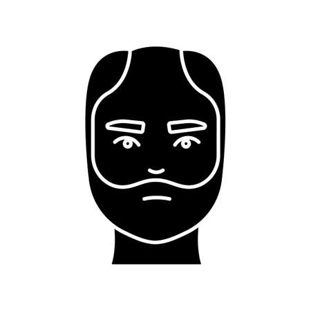 Male hair black glyph icon. Man with alopecia. Hairloss problem. Baldness spot. Dermatology and haircare treatment. Thinning hairline. Silhouette symbol on white space. Vector isolated illustration