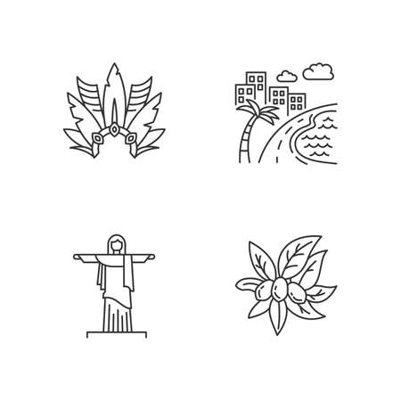 Brazil pixel perfect linear icons set. Crown with plumage. South America cityscape. Christ the Redeemer. Customizable thin line contour symbols. Isolated vector outline illustrations. Editable stroke Ilustração