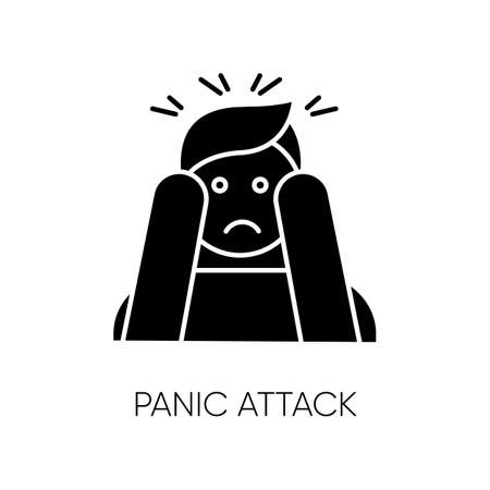 Panic attack glyph icon. Anxiety and depression. Paranoia and phobia. Migraine from stress. Person afraid and nervous. Mental disorder. Silhouette symbol. Negative space. Vector isolated illustration
