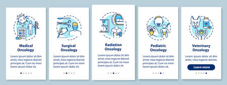 Oncology onboarding mobile app page screen with concepts. Cancer treatment walkthrough five steps graphic instructions. Medical and surgical oncology. UI vector template with RGB color illustrations