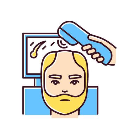 Trichoscopy RGB color icon. Hairloss treatment. Scalp and hair disease diagnosis. Male alopecia. Hairloss professional aid. Dermatology evaluation, medicine. Isolated vector illustration Illusztráció