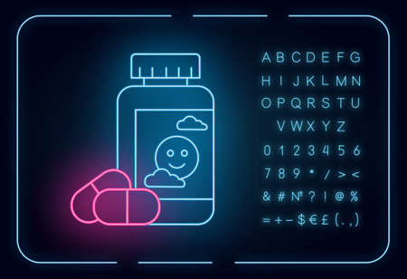 Antidepressant neon light icon. Depression medication. Pills and drugs in bottle. Painkiller and supplement. Glowing sign with alphabet, numbers and symbols. Vector isolated illustration