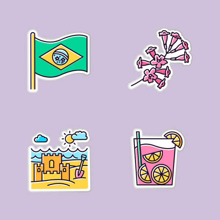 Brazil printable patches. National flag. RGB color stickers, pins and badges set. Plumeria. Caipirinha. Sand castle on the coast. Traditional cocktail. Ocean beach. Vector isolated illustrations