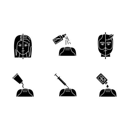 Hair loss black glyph icons set on white space. Male alopecia. Female balding. Haircare, dermatology treatment. Products for hairloss. Medical spray. Silhouette symbols. Vector isolated illustration Ilustração