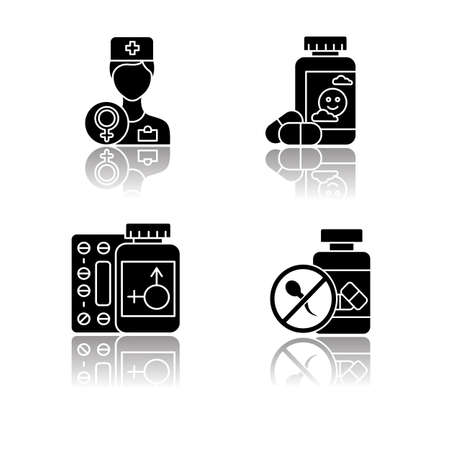 Gynecology drop shadow black glyph icons set. Doctor consultation. Antidepressant pills. Hormone replacement therapy. Birth control. Oral contraceptive. Medication, drug. Isolated vector illustrations